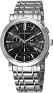 Burberry Mens BU1360 Heritage Silver Tone Stainless Steel Bracelet Dark Grey Dial Chronograph Watch