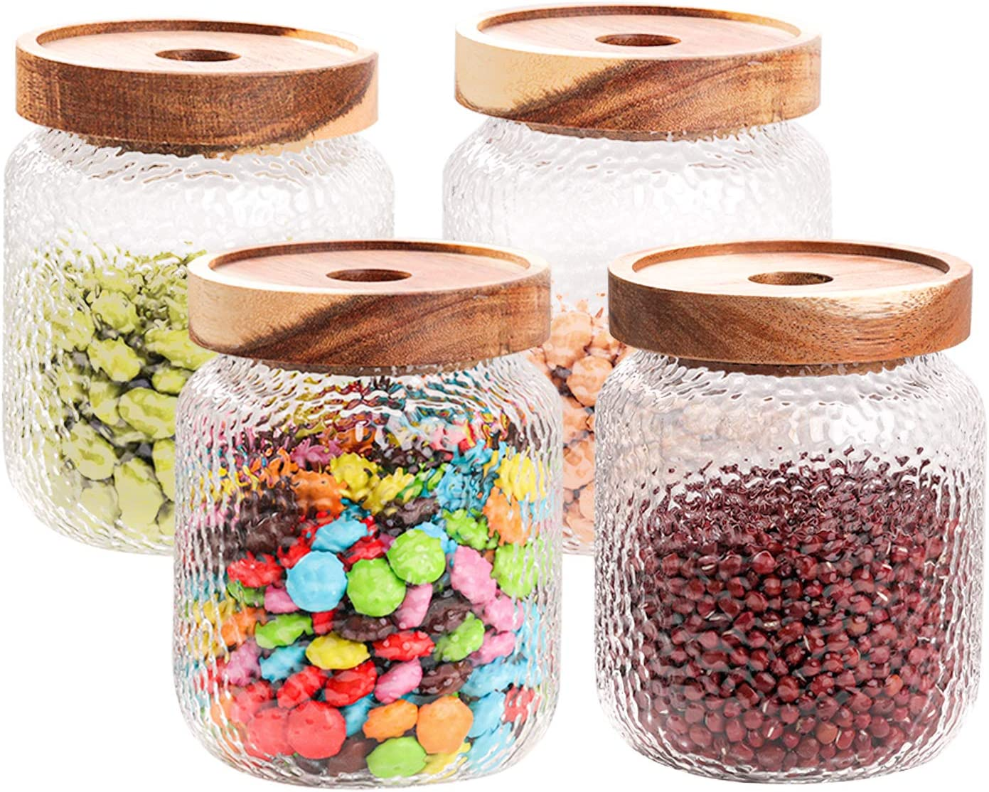 SMARTAKE Glass Jar Sets, 4 Pack of 18oz, Wide Mouth Food Storage Jar with Wood Lid, Leakproof Clear Glass Storage Container for Food, Coffee Bean, Flour, Candy, Snacks and More