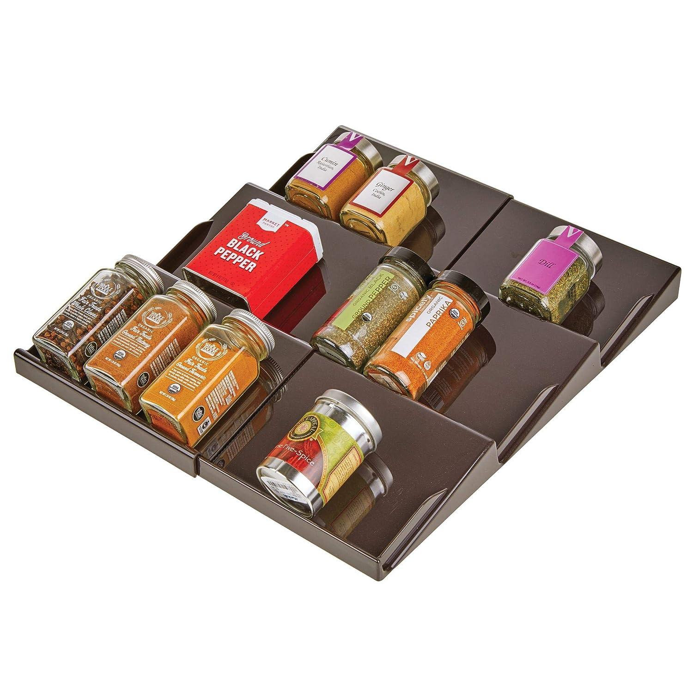 mDesign Portaspezie salvaspazio – Divisori per cassetti regolabili in larghezza da 20 cm a 36, 8 cm – Divisori per cassetti cucina con 3 ripiani – bronzo MetroDecor