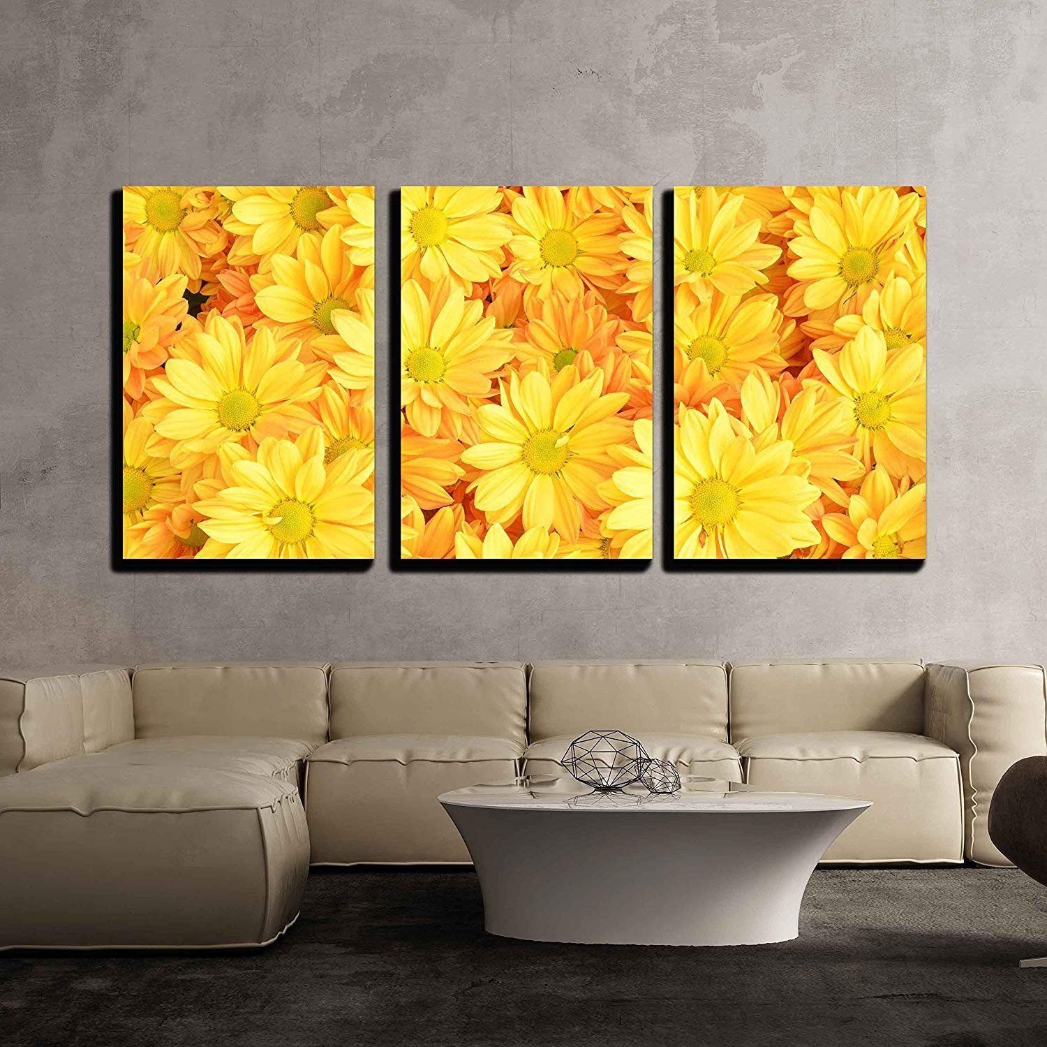 Yellow Chrysanthemum Flowers Background x3 Panels - Canvas Art | Wall26