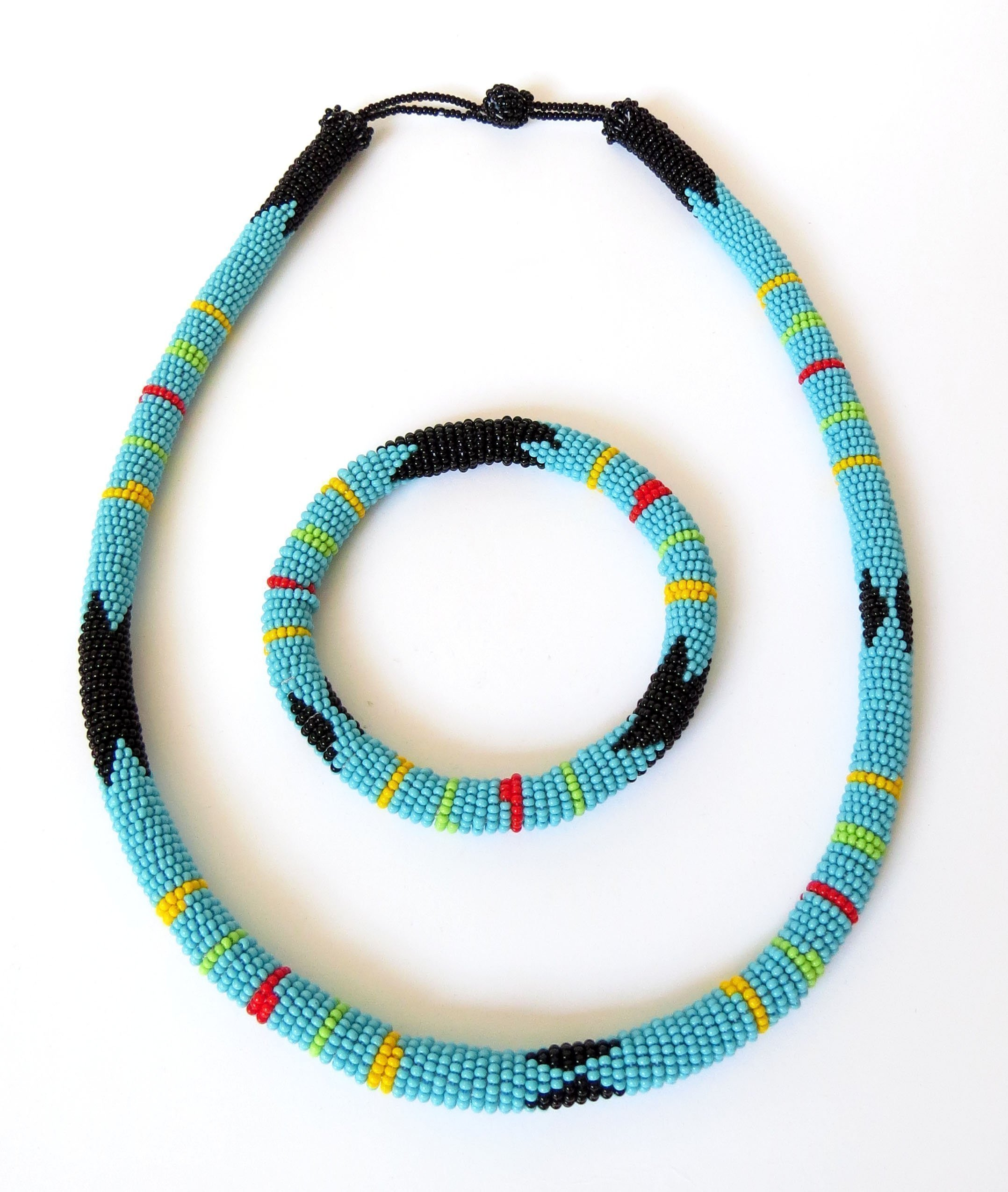 African Zulu beaded necklace and round bracelet set - Light Blue - Gift for her