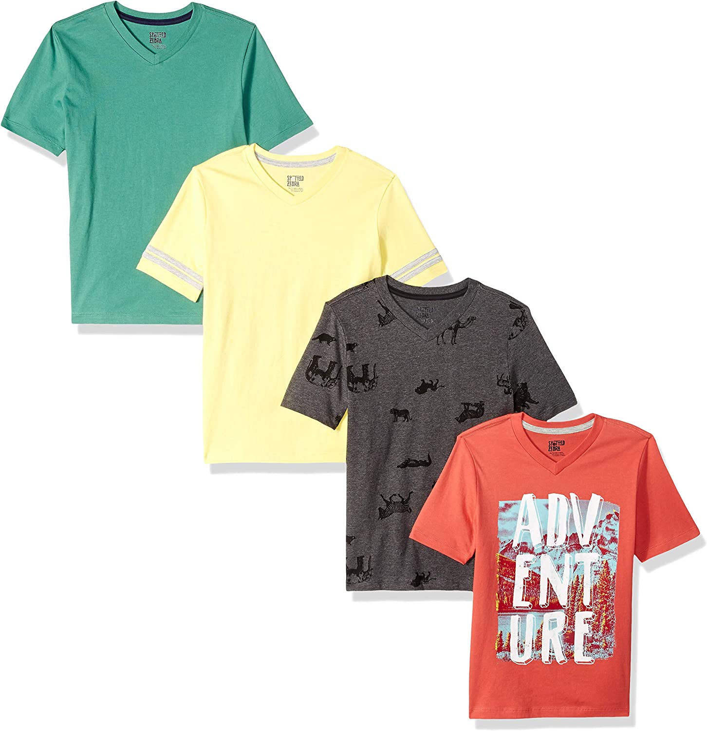 Amazon Com Amazon Brand Spotted Zebra Boys Short Sleeve V Neck T Shirts Clothing