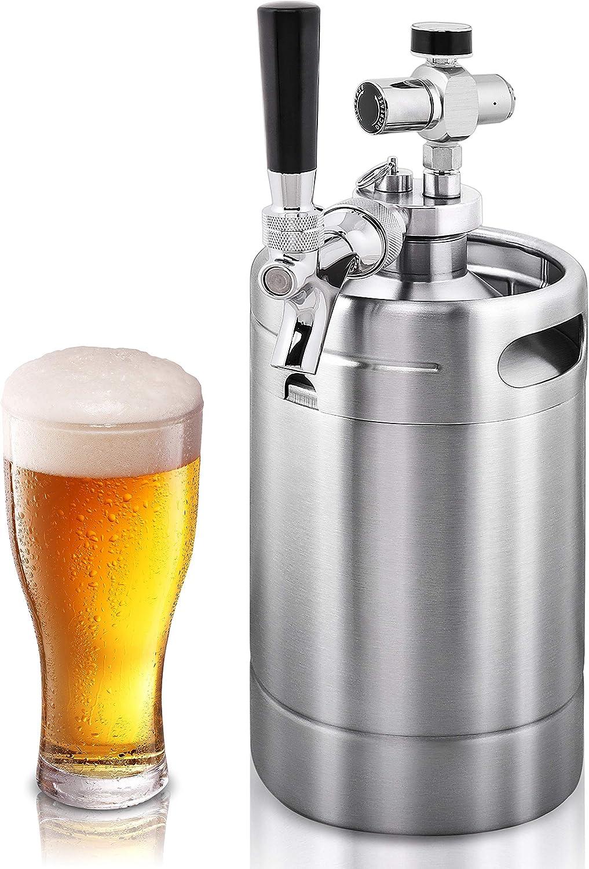 NutriChef Double Walled System-64oz Stainless Steel Growler Tap Portable Mini Keg Dispenser Kegerator Kit w/ Co2 Pressure Regulator for Craft Beer Draft/Homebrew PKBRTP99