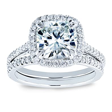 Amazon.com: Cojín Moissanite y Diamond Halo De Novia Juego ...