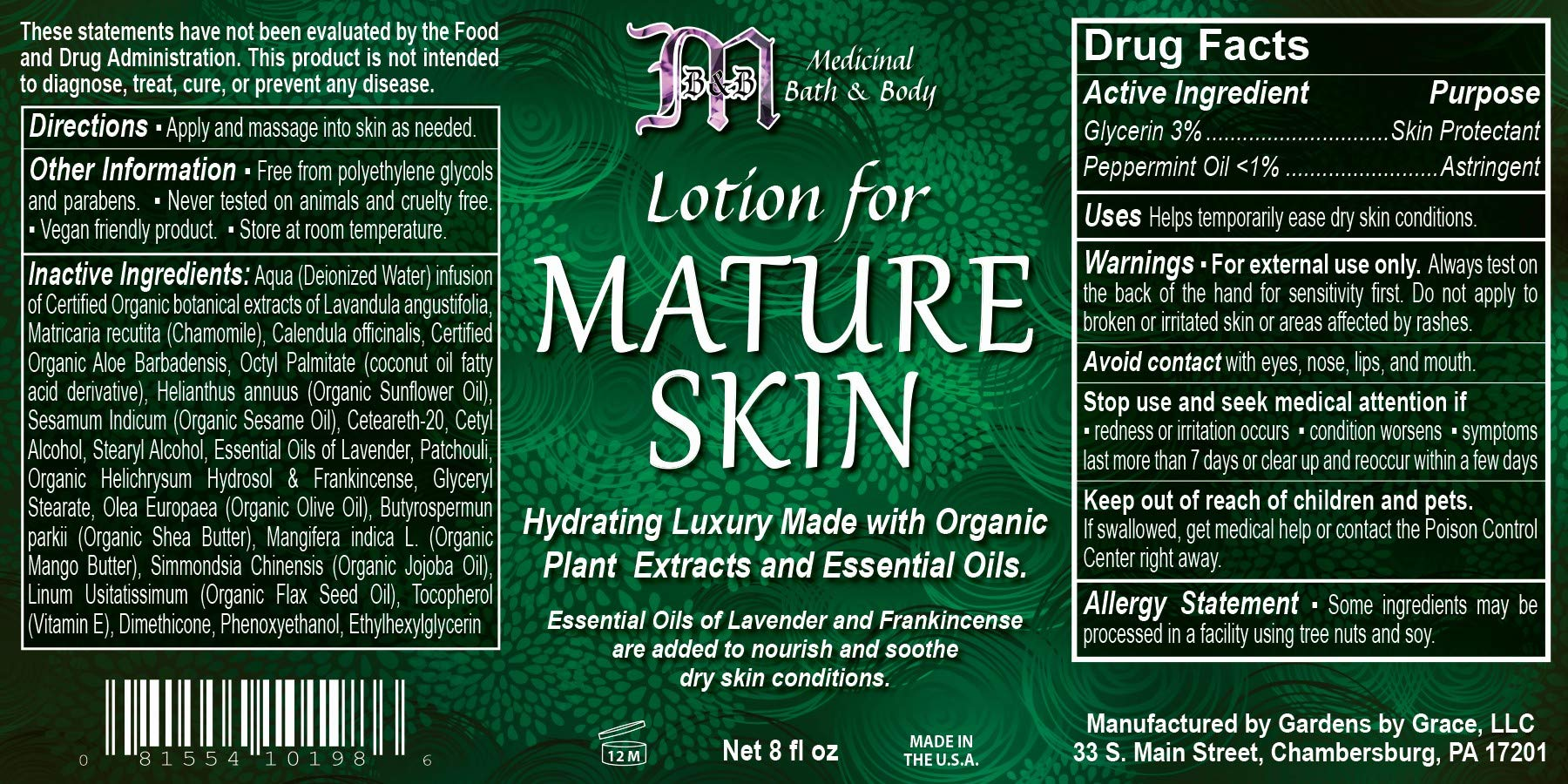 Lotion for Mature Skin Care | Natural Anti Aging Treatment for Daytime,  Night | Helps Repair, Rejuvenate for Face, Body | Organic, Vegan, 8oz