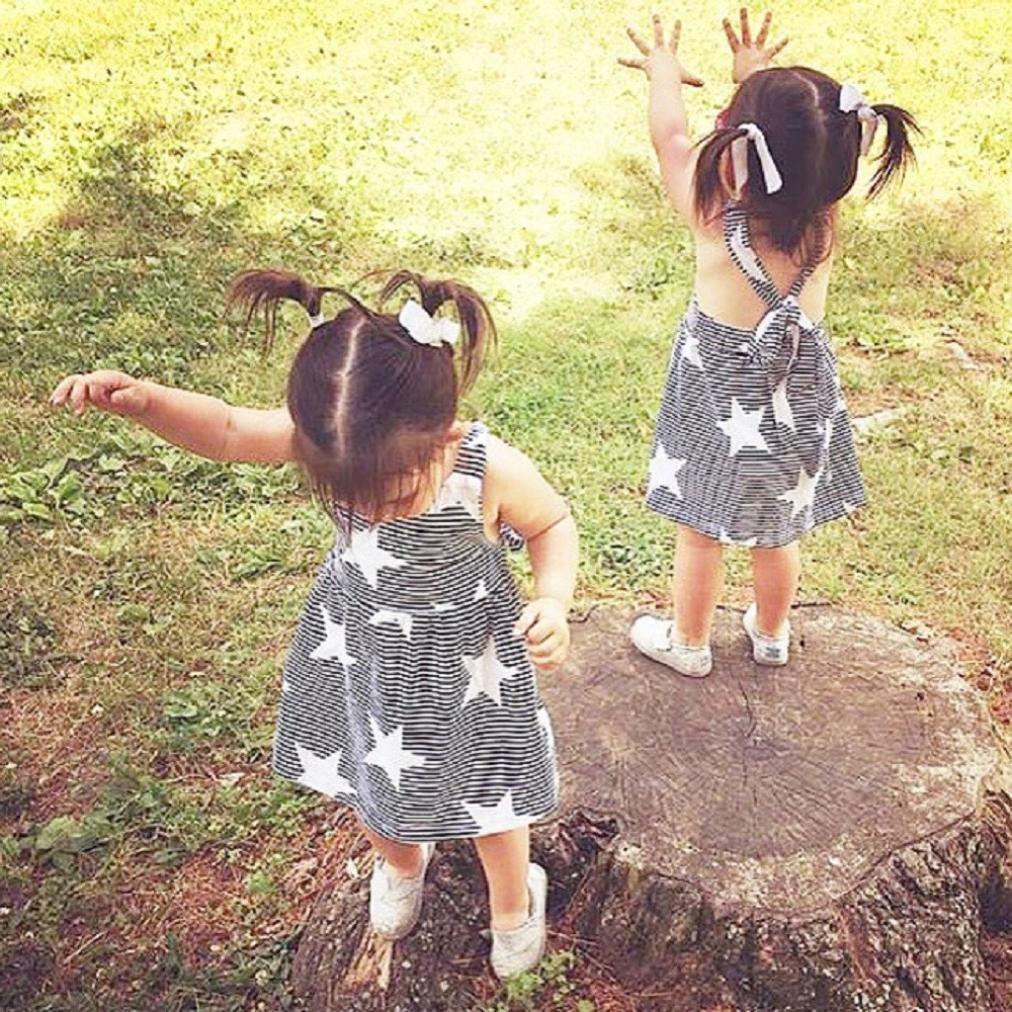 gris, Tama/ño:2-3 A/ños 7 A/ños Vestido ni/ña ❤️ Amlaiworld Vestido de fiesta a rayas sin mangas de verano para ni/ñas beb/é Casual Princesa Vestir Infantil ni/ña 2 A/ños