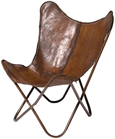 Kare Sessel Butterfly Braun Moderner Design Echtledersessel Im
