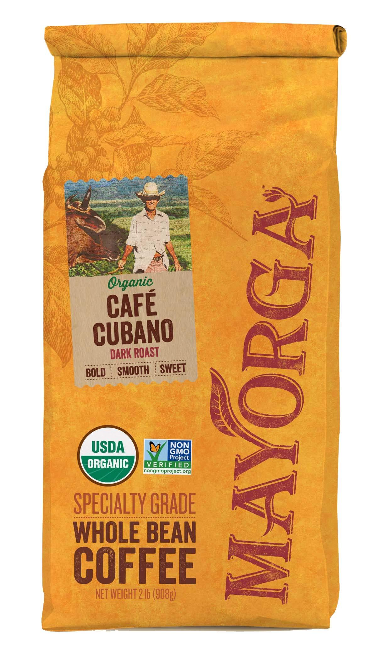 Mayorga Organics Cafe Cubano Dark Roast, 2 Pound, Whole Bean Coffee, Direct Trade, 100% USDA Organic Certified, Non-GMO, Kosher by Mayorga Organics