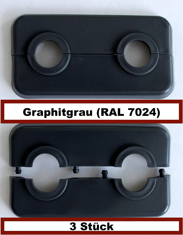 3 STÜ CK Doppel-Rosette fü r Heizungsrohre, Abdeckung fü r Heizungsrohre, Heizung, 15mm, 16mm, 18mm, 21,3mm Polypropylen in Sonderfarben: Grau-, Braun- & Schwarz-Tö ne (16mm, RAL 7016) FUX