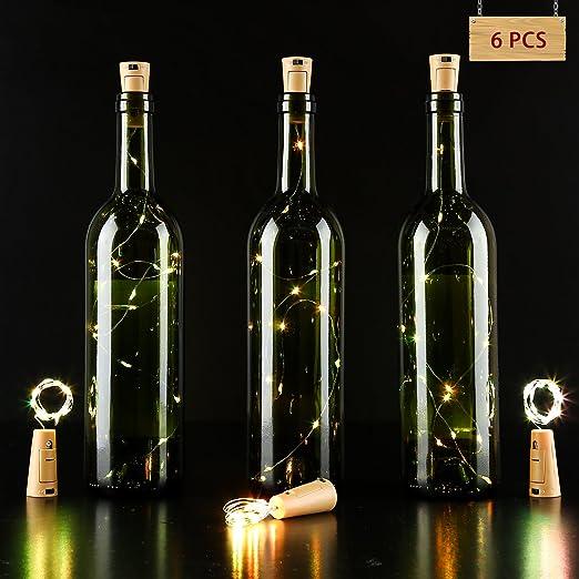 Lámpara LED navideña con forma de botella e hilo de plata con 15 bombillas. Alimentación: a través de batería. Producto perfecto para realizar decorados ...