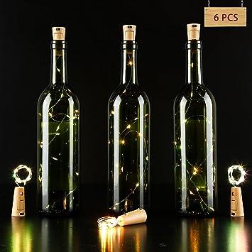 LED Lámpara de Botella, Alambre de Cobre de Plata con 15 bombillas Accionado por Batería