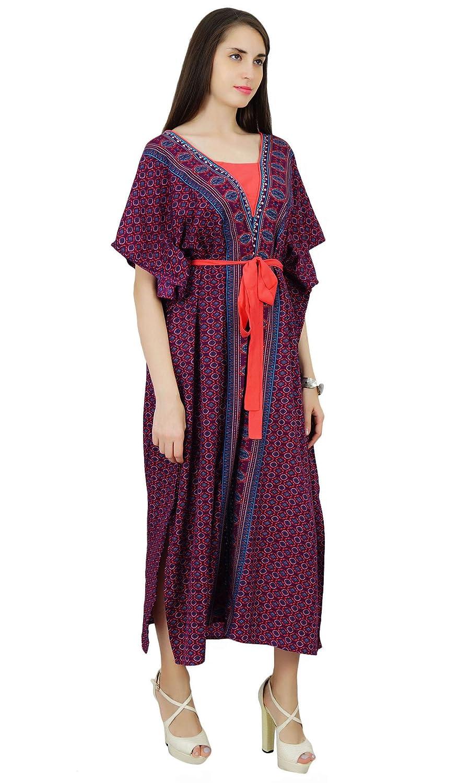 791bd3c22c53d Phagun Polyester Caftan Bohemian Paisley Kaftan Long Maxi Nightwear Dress:  Amazon.co.uk: Clothing
