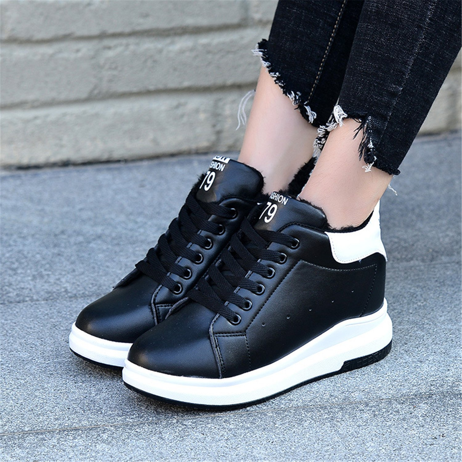 Amazon.com | Winter White High Platform Sneakers Women Platform Shoes Warm Leather Casual Shoes Women Tenis Feminino | Fashion Sneakers