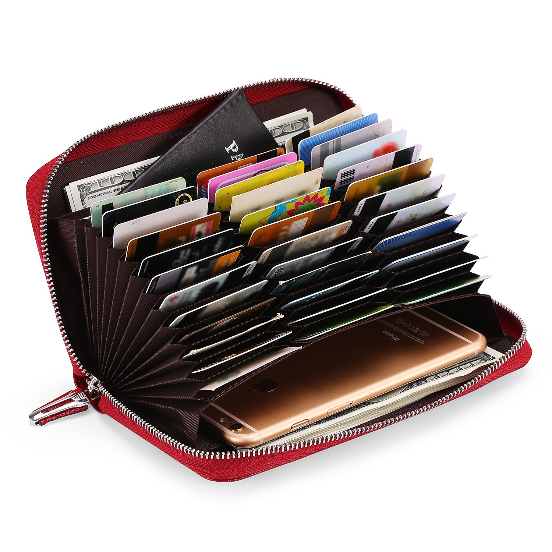AINIMOER Women's Big 36 Slots Leather RFID Blocking Card Holder Large Capacity clutch organizer Purse Long Zip Around Passport Checkbook Wallet (Lichee Wine)