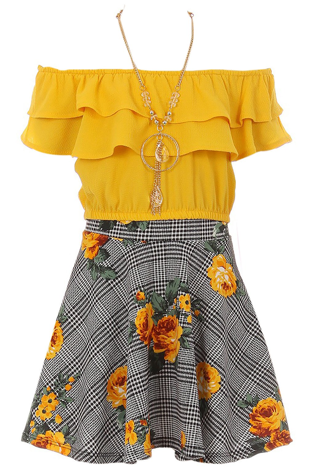 Big Girls' Off Shoulder Tops Skirt Necklace 3 Pieces Party Summer Clothing Set Yellow 8 (J21KS30S)