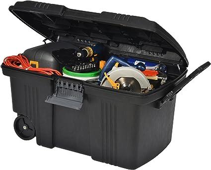 Pro móvil Contico Tuffbin - BIG 155 litros aletas para plástico con cerradura caja baúl para herramientas clavos para camión REMOLQUE Caravan - sábana bajera para cama Box de ruedas y asa,