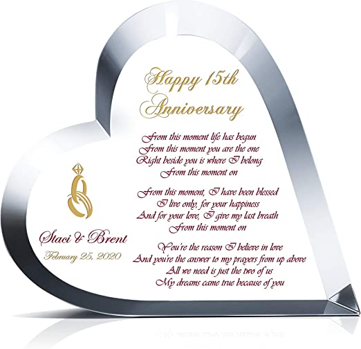 PERSONALISED 15th Wedding Anniversary Wall Print Gift Present Couple Crystal