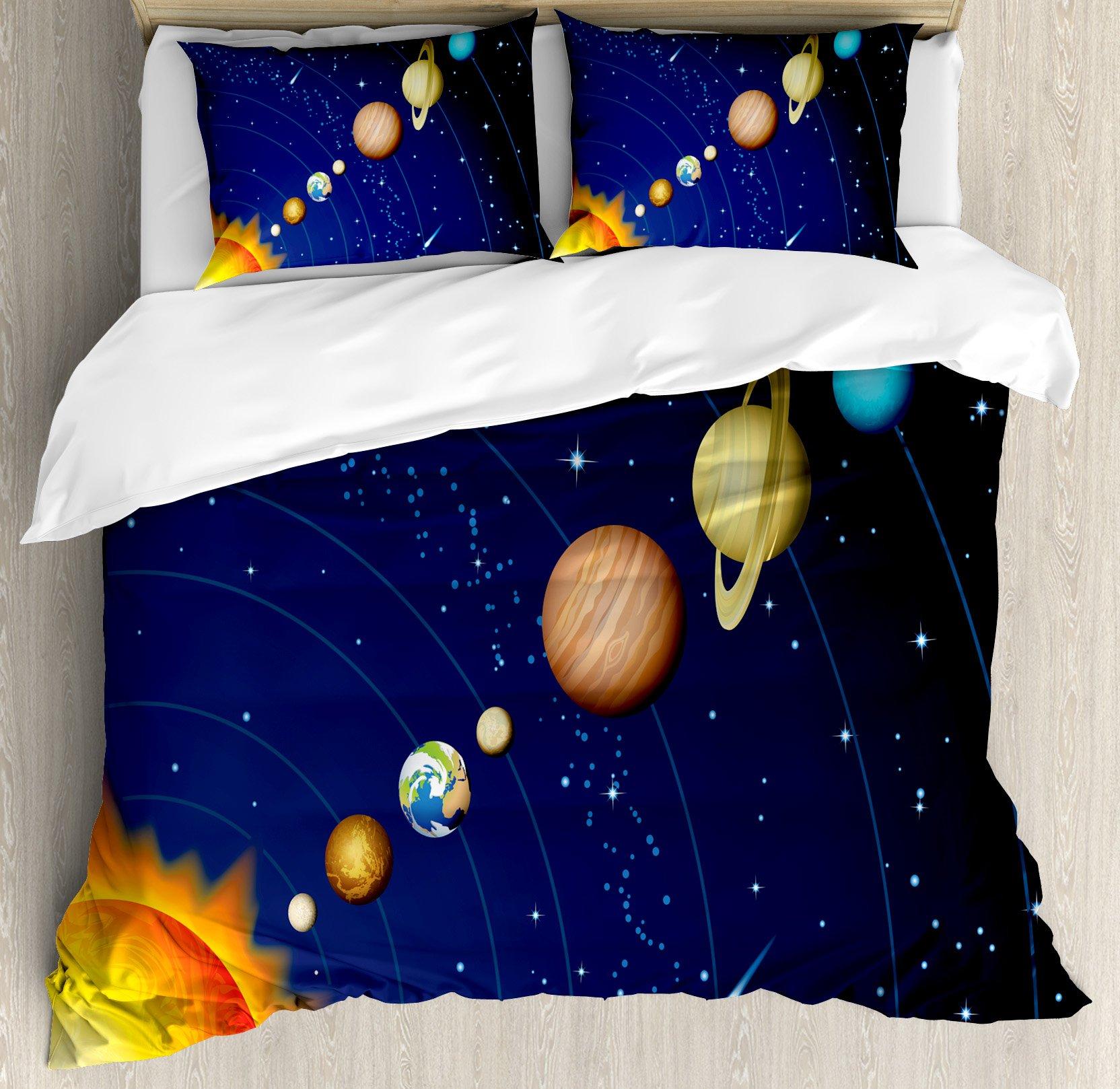 Space Duvet Cover Set by Ambesonne, Solar System with Sun Uranus Venus Jupiter Mars Pluto Saturn Neptune Image, 3 Piece Bedding Set with Pillow Shams, Queen / Full, Dark Blue Orange