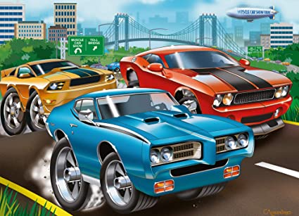 Amazon Com Ravensburger Muscle Cars 60 Piece Jigsaw Puzzle For Kids