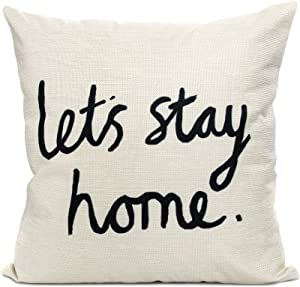 Arundeal Decorative Throw Pillow Case Cushion Cover, Cotton Linen 18 x 18 Inches, Rustic Farmhouse Faimly Quote Let's Stay Home, for Sofa Couch Bed Decor