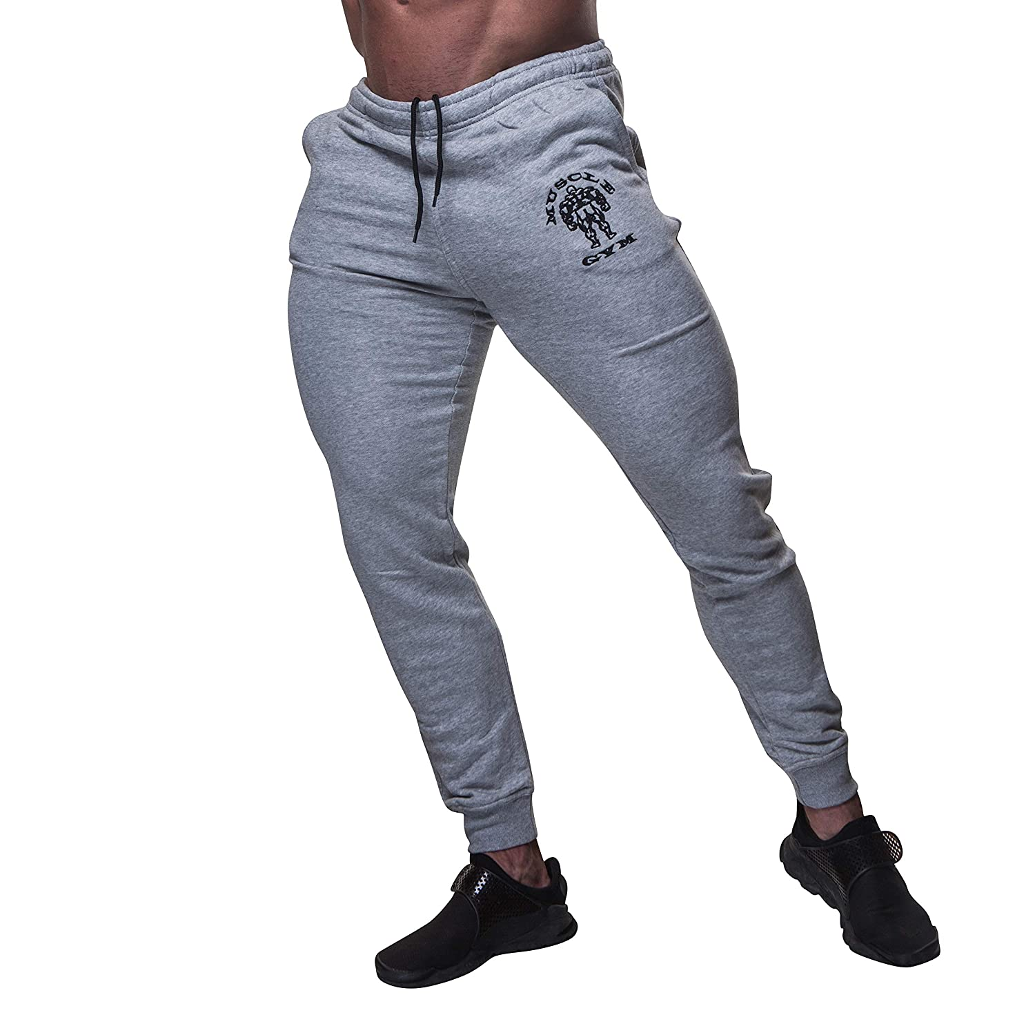 MUSCLE GYM Men's Fleece Workout Gym Jogger Athletic Trouser Tracksuits Bottoms Grey