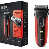 Braun Series 3 ProSkin 3030S - Afeitadora eléctrica para hombre, máquina de afeitar barba recargable, color rojo