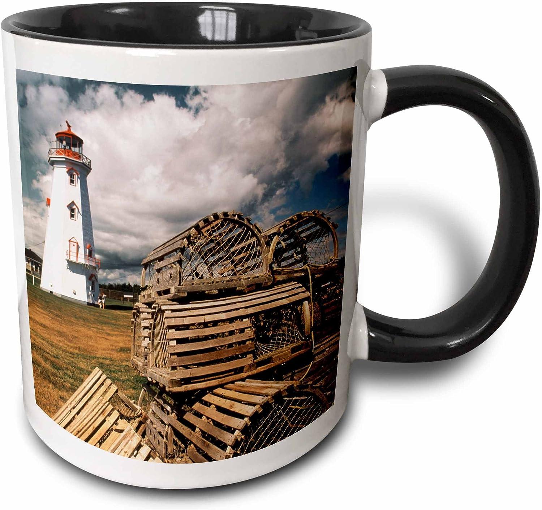 3dRose 189283_4 Canada, Prince Edward Island, East Point Lighthouse and lobster traps Ceramic Mug, 11 oz, Black/White