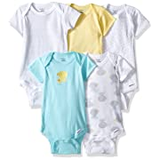 Gerber Baby 5-Pack Short-Sleeve Onesies, New Duck, 0-3 Months