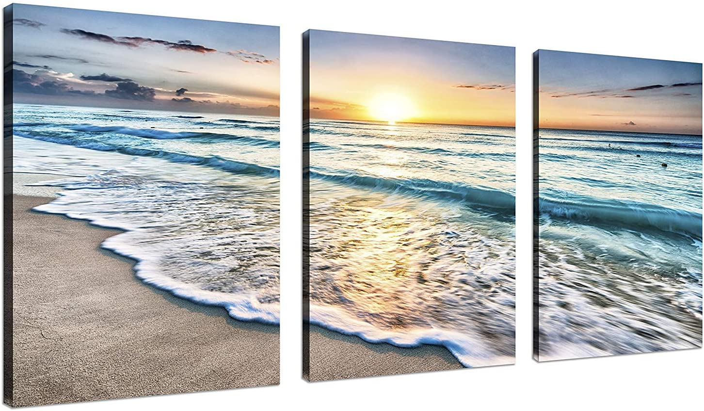TutuBeer 3 Panel Beach Canvas Wall Art for Home Decor Blue Sea Sunset White Beach Painting The Picture Print On Canvas Seascape The Pictures for Home Decor Decoration, Ready to Hang: Posters & Prints