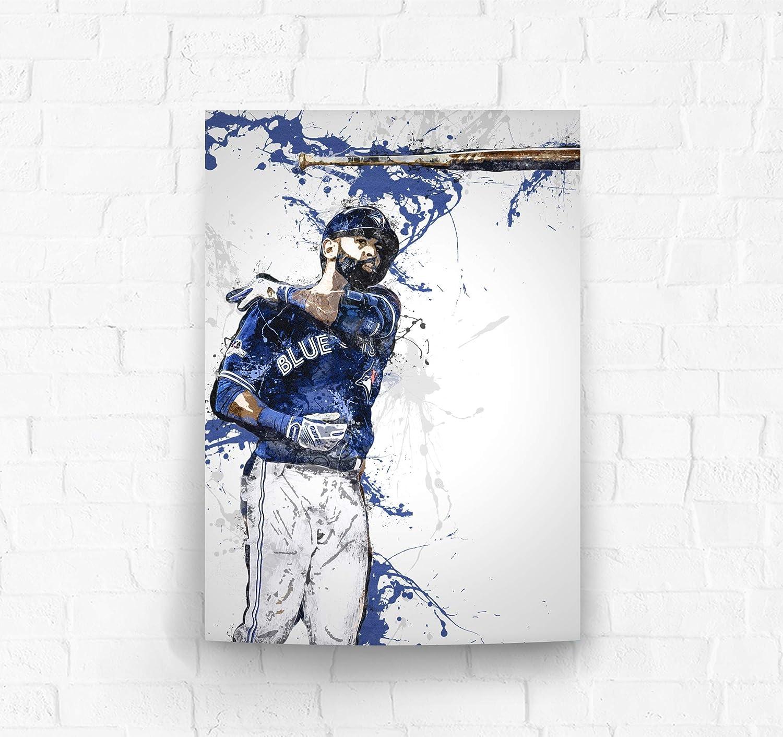 Amazon Com Topshelfprints Jose Bautista Bat Flip Poster Canvas Print Baseball Artwork Kids Room Wall Decor Man Cave Sports Decor Birthday Gift Idea Clothing