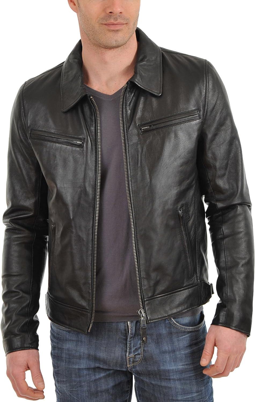 New Mens Genuine Lambskin Leather Jacket Slim fit Biker Motorcycle Jacket N108