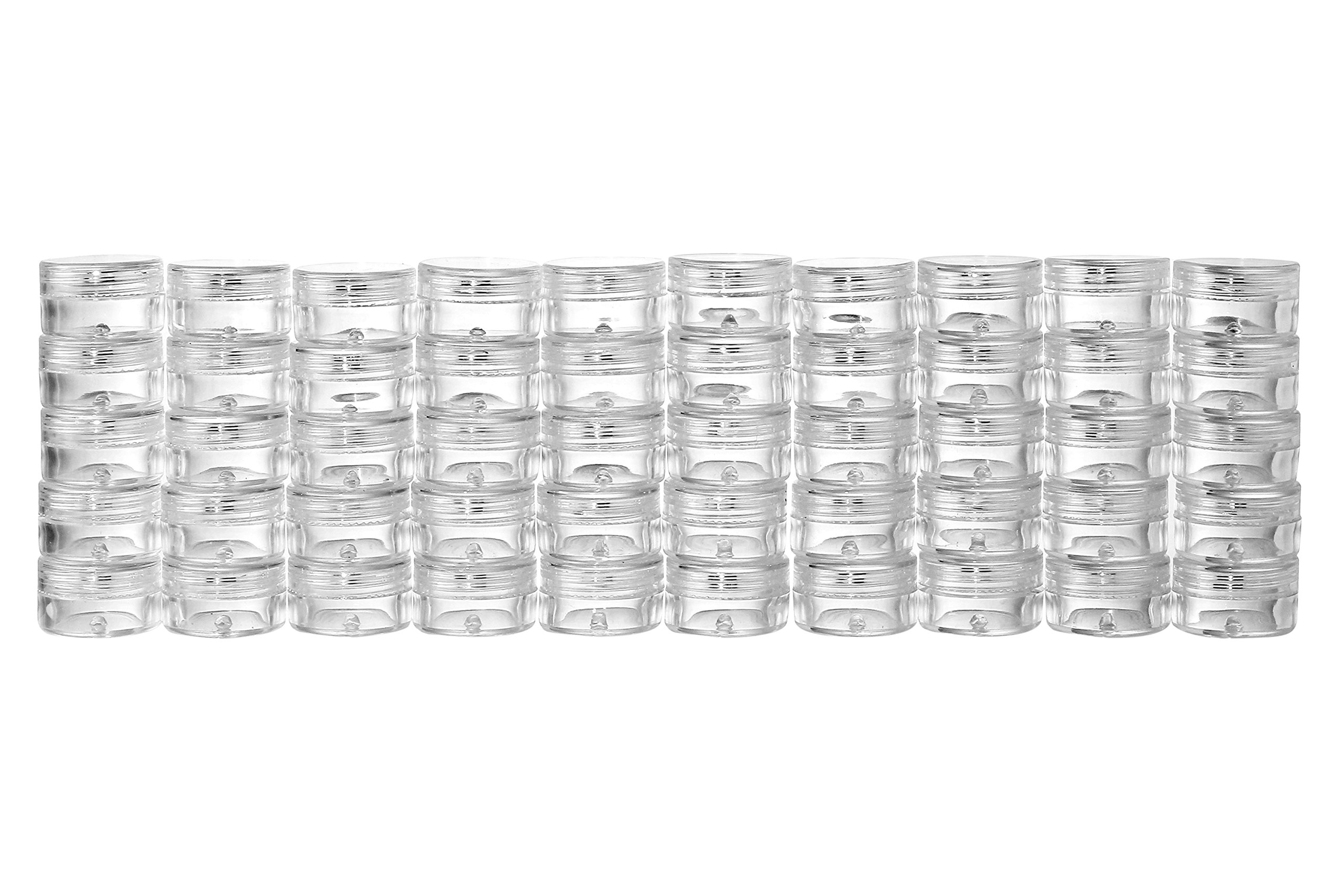 50 New Empty Clear 5 Gram Plastic Pot Jars Cosmetic Containers With Lids