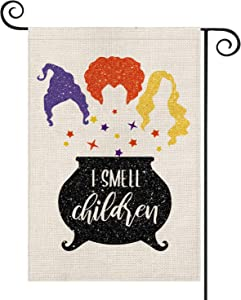 AVOIN Halloween Sanderson Sisters Garden Flag Vertical Double Sided, Fall I Small Children Yard Outdoor Decoration 12.5 x 18 Inch