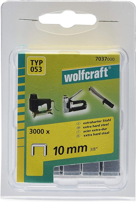 Wolfcraft 7037000 3000 Agrafes Larges 10 Mm  Type 053 Acier Tremp/é