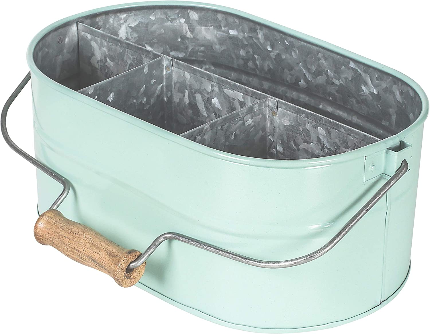 Galvanized Metal Caddy with 4 Compartments, Kitchen Utensil Holder, Metal Caddy, Picnic Caddy, Rustic Farmhouse Galvanized, Multipurpose Storage Bin, Metal Garden Planters- Aqua