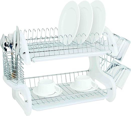 Amazon Com Home Basics Plastic 2 Tier Dish Drainer Rack Air