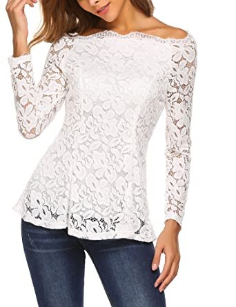 e0ffcc4f63347 bubblebelle Women s Boat Neck Floral Lace Raglan Long Sleeve Shirt Top  White S