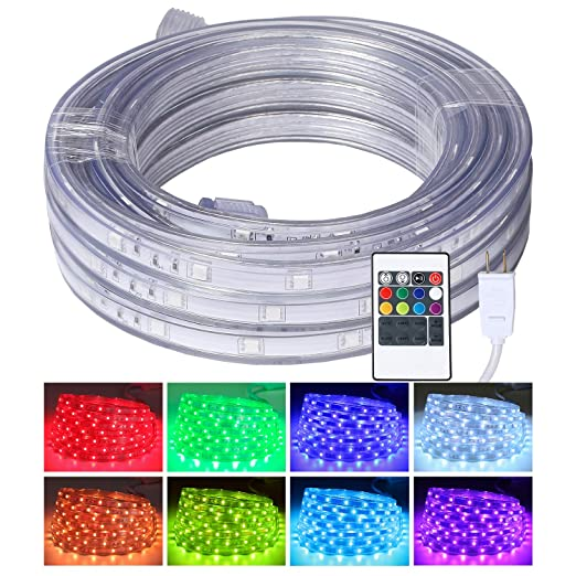 big sale c5bbe f2d50 LED Rope Lights, 16.4ft Flat Flexible RGB Strip Light, Color Changing,  Waterproof for Indoor Outdoor Use, Connectable Decorative Lighting, 8  Colors ...