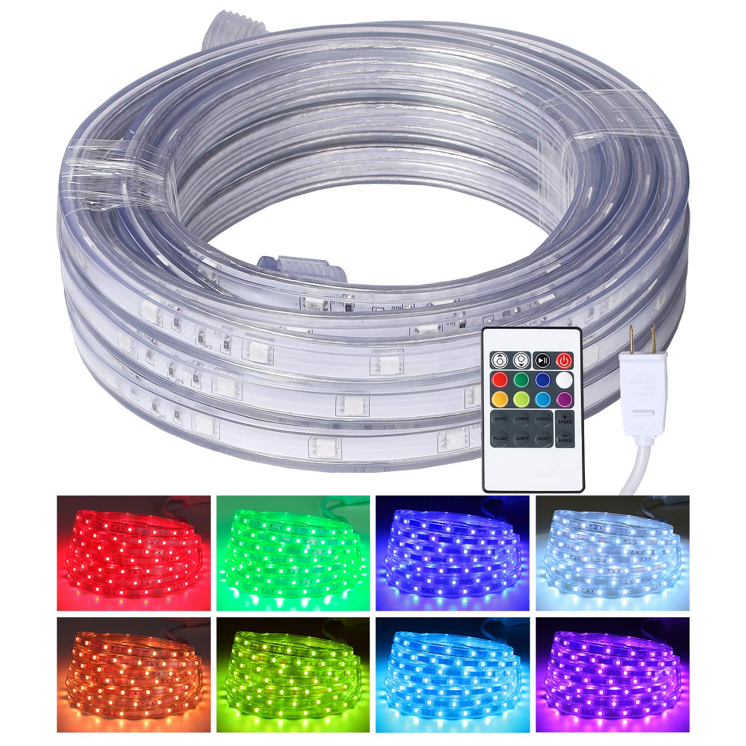 Areful LED Rope Lights, 16.4ft Flat Flexible RGB Strip Light, Color Changing, Waterproof for Indoor/Outdoor use, Connectable Decorative Lighting, 8 Colors and Multiple Modes