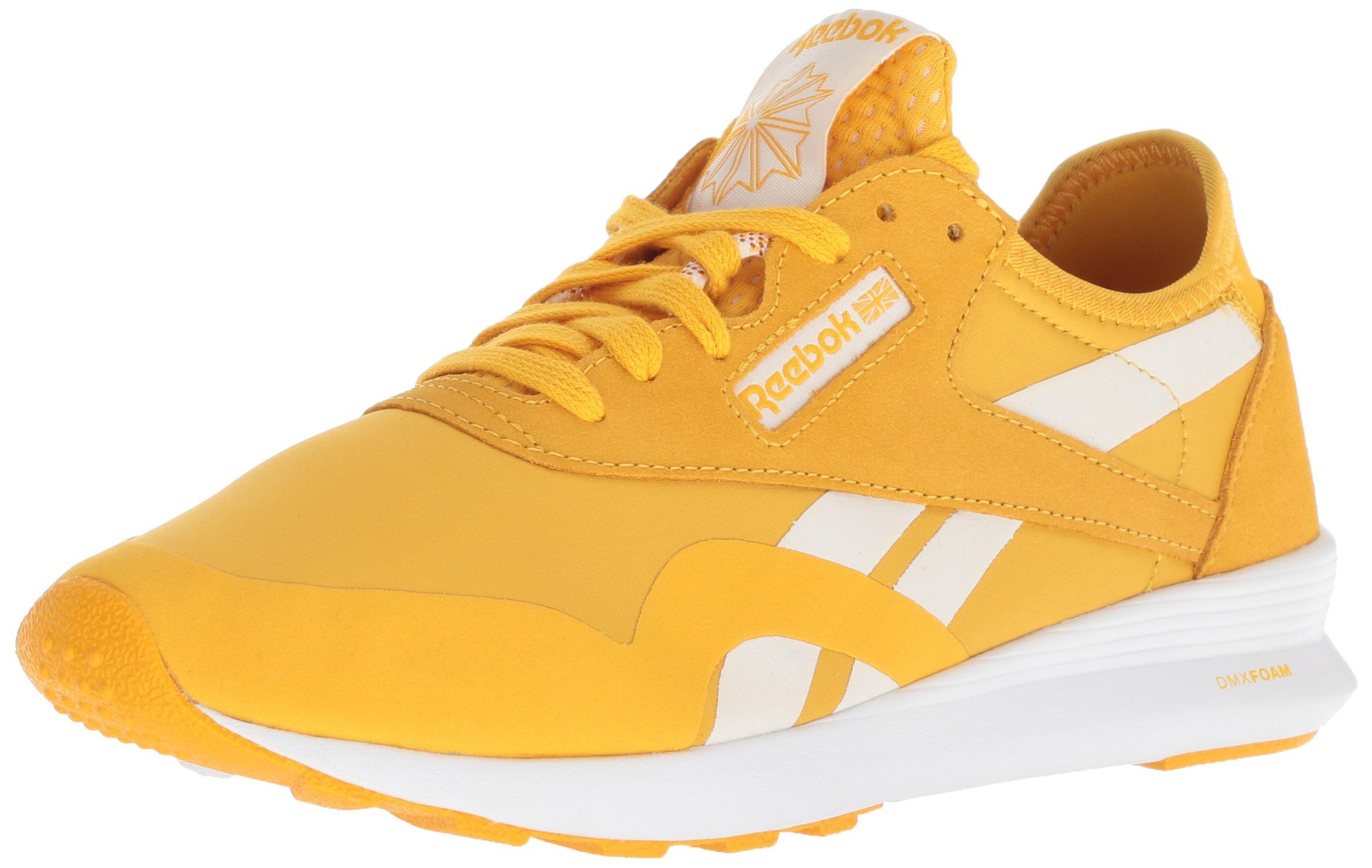 Reebok Women's Classic Nylon SP Walking Shoe, OG Blocking-Fierce Gold/Chalk/White, 8 M US