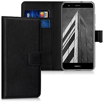 kwmobile Funda para Huawei P10 Lite - Carcasa de [Cuero sintético] - Case con Tapa y [Tarjetero] en [Negro]
