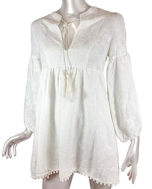 Zara - Vestido - para mujer blanco blanco crema Large