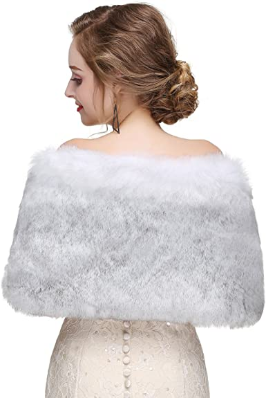 Jinjin Womens Faux Fur Solid Color Shawl Scarf Long Stole Wrap Shrug Scarf Resists Cold and Protects The Body Warmth Gray