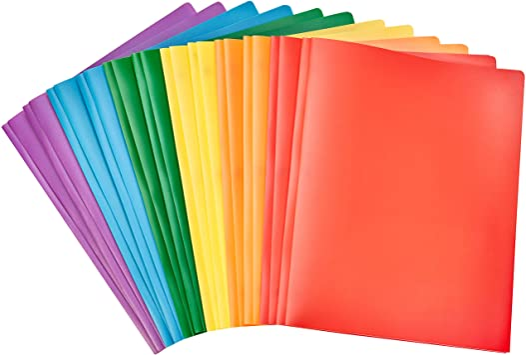 Plastic Pocket Folders Heavy Duty Durable Poly 2 Pocket Folder 5 Pack Colored