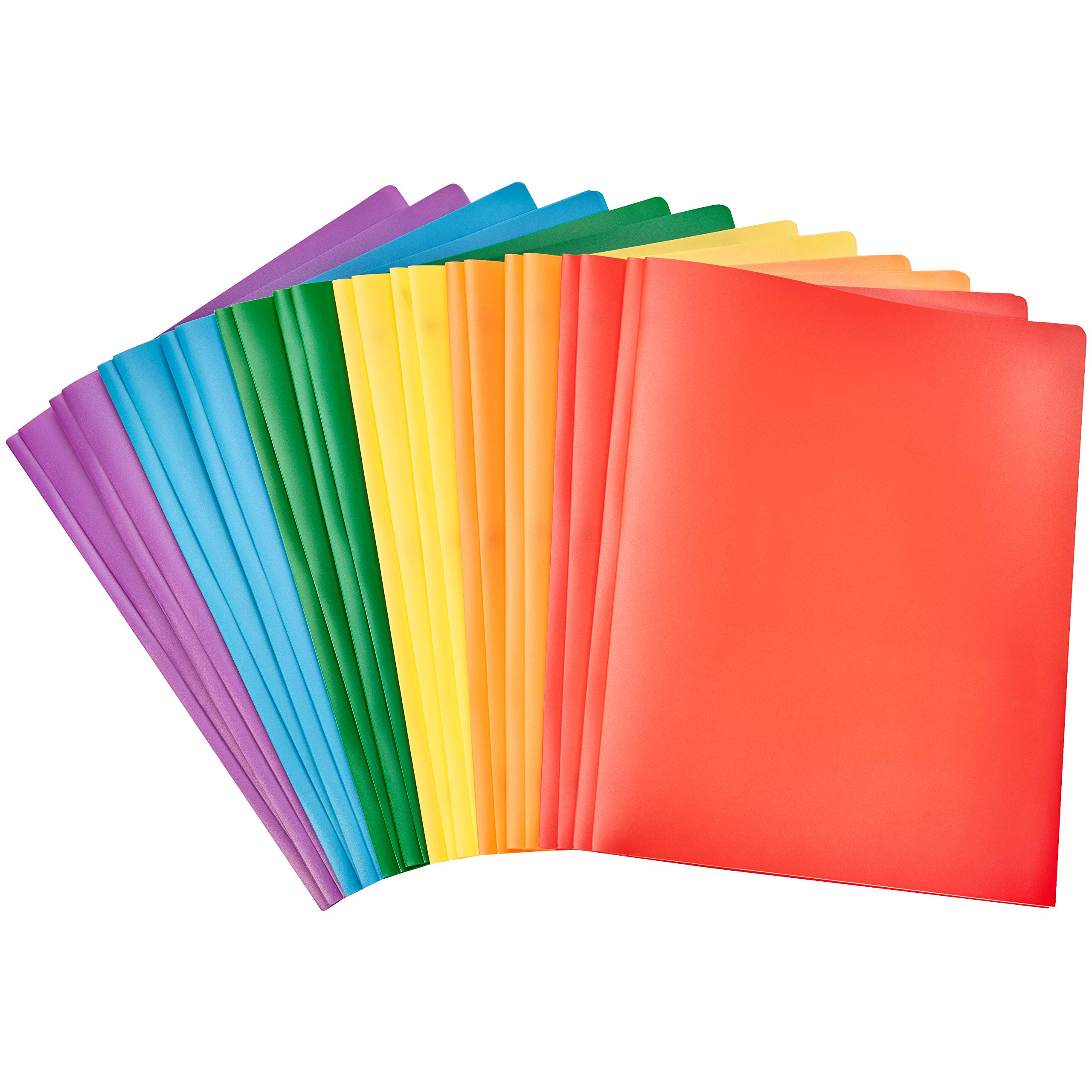 AmazonBasics Heavy Duty Plastic Folders with 2 Pockets for Letter Size Paper, Pack of 12 by AmazonBasics