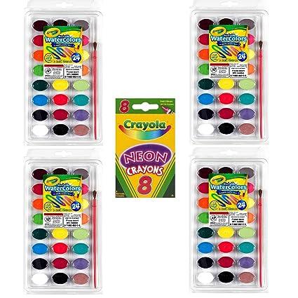 amazon com crayola 24 ct washable watercolors pack of 4 bundle
