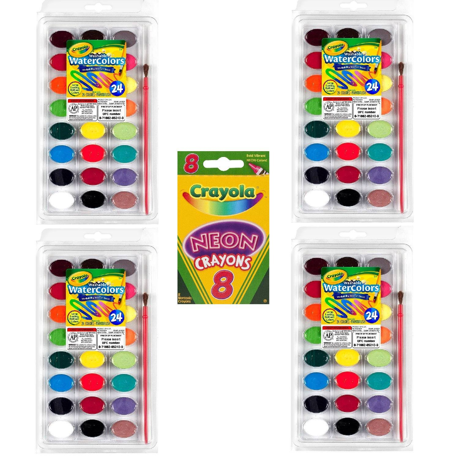 Crayola 24 Ct Washable Watercolors, Pack of 4, Bundle with Box of Neon Crayons