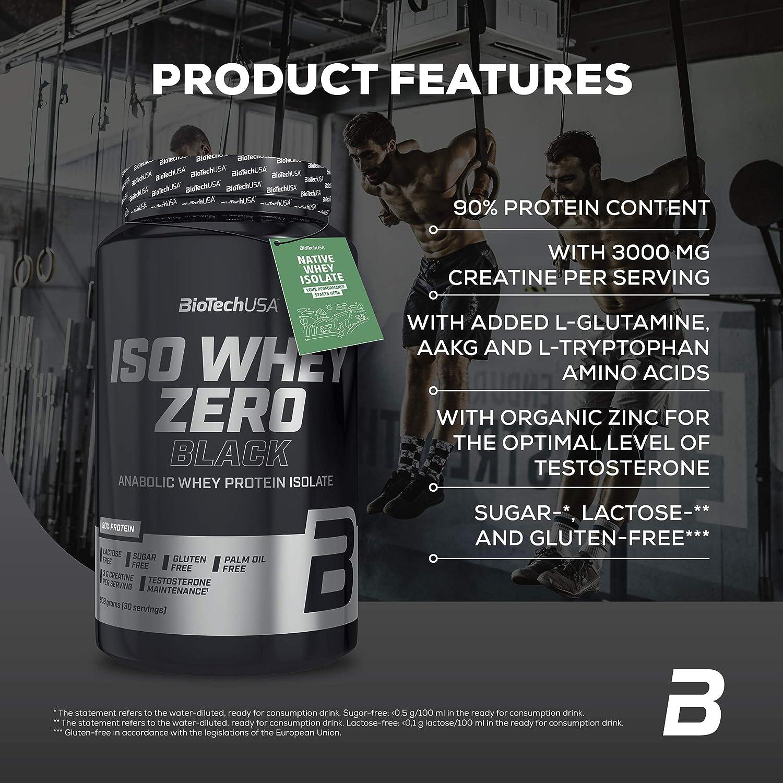 BioTechUSA Iso Whey Zero Black Bebida en polvo aromatizada, aislado de proteína de suero, añadido creatina, aminoácidos, vitamina B3, con el 90% de ...