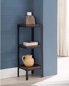 K and B Furniture Co Inc Metal Wood Antique Walnut 3 Tier Corner Bookcase