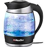 Mueller Premium 1500 W Hervidor eléctrico con tecnología SpeedBoil, 1.8 litros inalámbrico con luz LED, vidrio de borosilicat